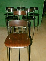 LOT OF 6 ITALIAN ALTEK BABA COLLECTION WOOD AND CHROME BAR STOOLS BY SER... - $1,583.99