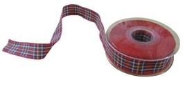 Scottish Tartan Red Blue Green Yellow White Reversible Ribbon 25mm 4 Len... - $4.22+