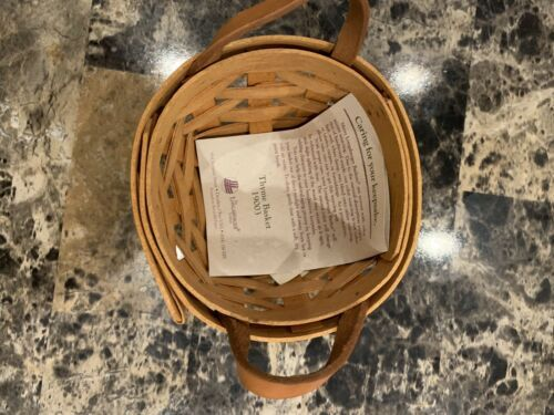1995 Longaberger Thyme Wooden Basket Round Leather Handles 4 3/4""