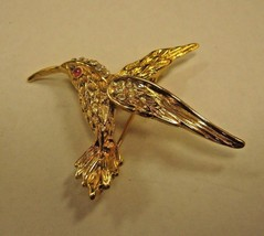GOLD COLOR BIRD WITH CLEAR RHINESTONES BROOCH - $9.89