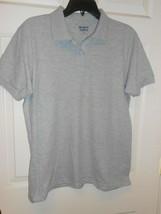 New Women's Gildan Dry Blend Gray polo shirt size Large cute golf polo - $7.43
