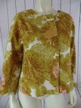 TALBOTS PETITES Blazer 10P Gold Floral Textured Cotton Hidden Button Fro... - $68.31