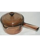 Vision Corning Ware 1 Liter Sauce Pan Pour Spout Pot Brown Amber w/Pyrex... - $23.70
