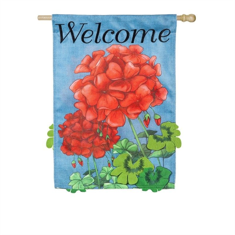 """Geranium Welcome House Banner 28x44"""" Flag NEW Spring Floral Evergreen"""