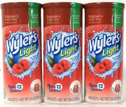 3 Wyler's 1.36 Oz Light Raspberry Iced Tea Sugar Free 6 Count Pitcher Pa... - $21.99