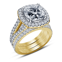 14K Yellow Gold Plated 925 Silver Women's Special Engagement & Wedding Ring Set - $135.40