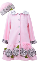 Bonnie Jean Little Girls 4-6X Pink Bonaz Rosette Border Fleece Coat/Hat Set image 2