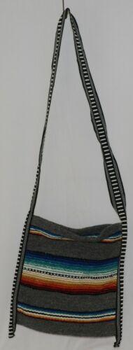 Gemini Mermaids Product Number RBB5001 Medium Serape Boho Bag Gray Blue Striped