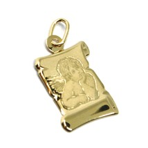 SOLID 18K YELLOW PARCHMENT GOLD MEDAL GUARDIAN ANGEL 18 mm LENGTH VERY DETAILED image 2