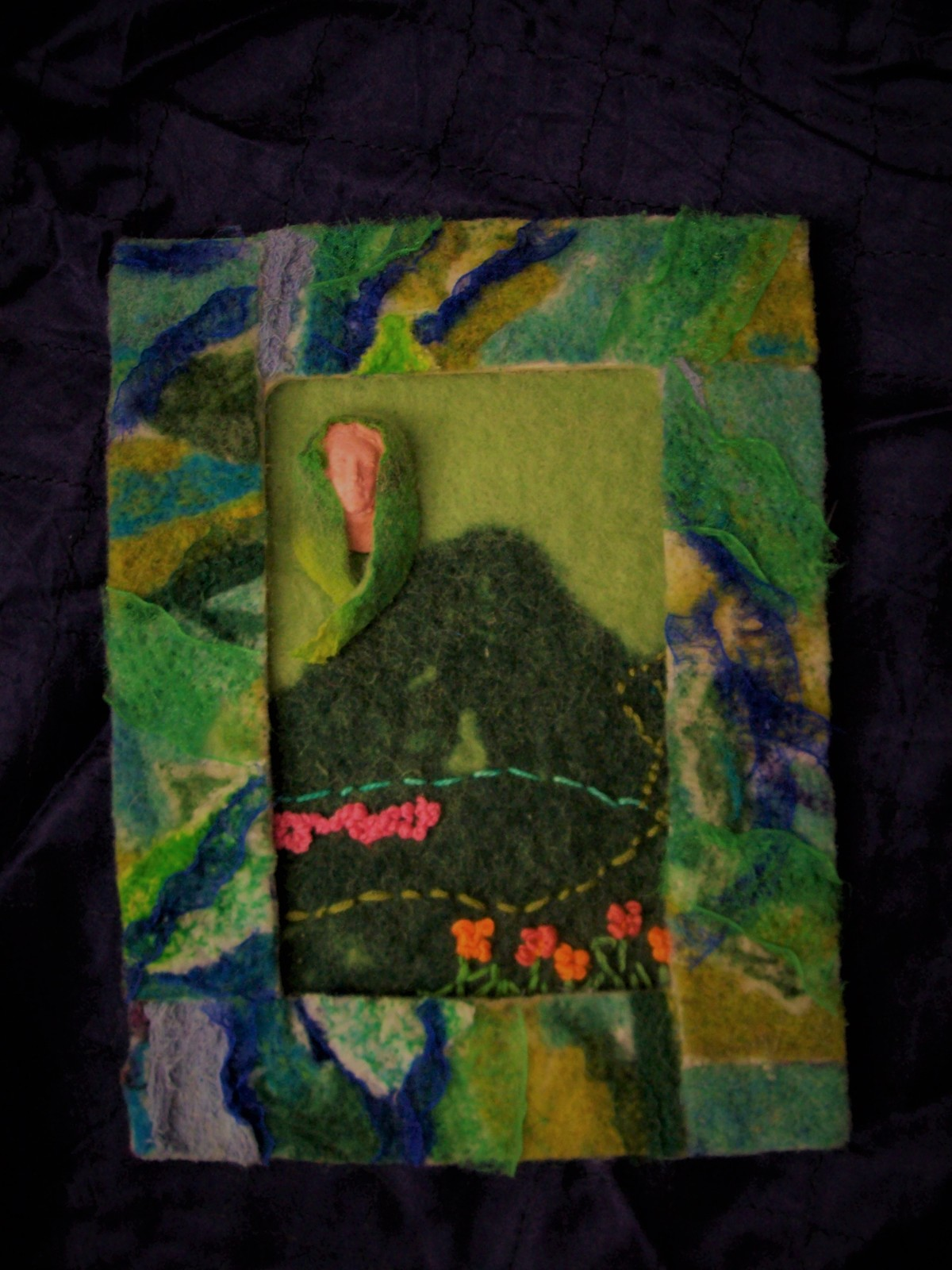 "Felted fiber art ""Guardian of the Hills"""
