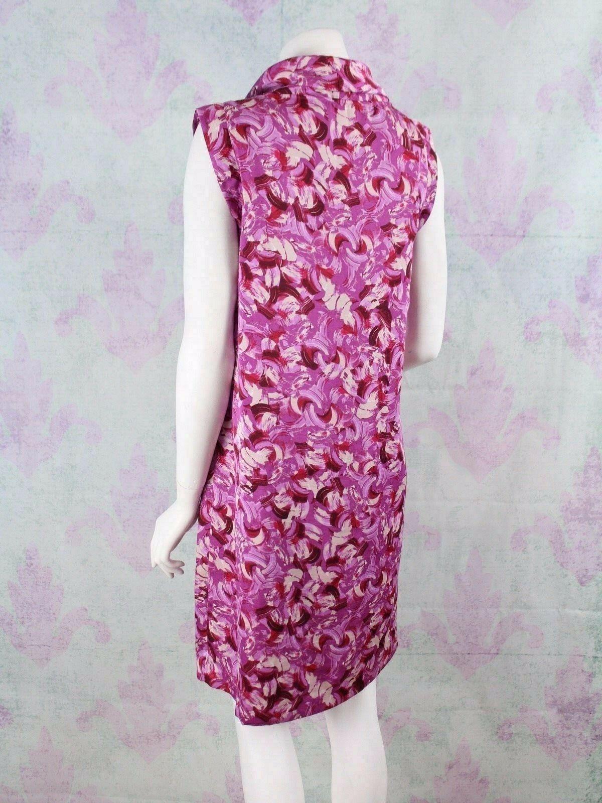 Ann Taylor LOFT Size 8 Purple Abstract Brush Stroke Silky Cowl Neck Shift Dress