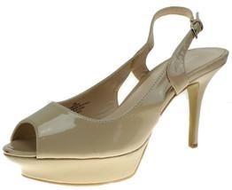 NINE WEST Womens Beige Faux Patent Leather Slingback Platform Pumps Size 10  - $24.74