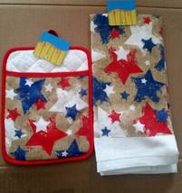2 pc Printed Kitchen Set: 1 Pot Holder w/Pocket & 1 Towel, USA STARS, cotton - $9.89