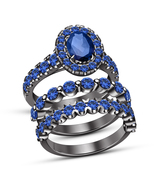 Oval Blue Sapphire Wedding Engagement Bridal Ring Set Women 14K Black Gold Over - $132.99