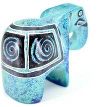 Crafts Caravan Hand Carved Aqua Blue Soapstone Elephant Figurine Made in Kenya image 4