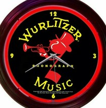 Neon Clock Wurlitzer Music Johnny One Note Jukebox 15 Inch Bar Game Room... - $64.34