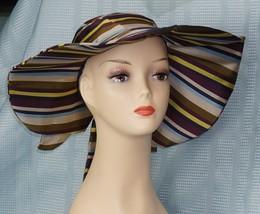 "H & M Ladies Multi Color SilkyFeel Polyester Stripe Wide Floppy Hat 5"" Brim - $14.81"