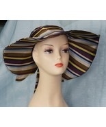"H & M Ladies Multi Color SilkyFeel Polyester Stripe Wide Floppy Hat 5"" Brim - $14.81"