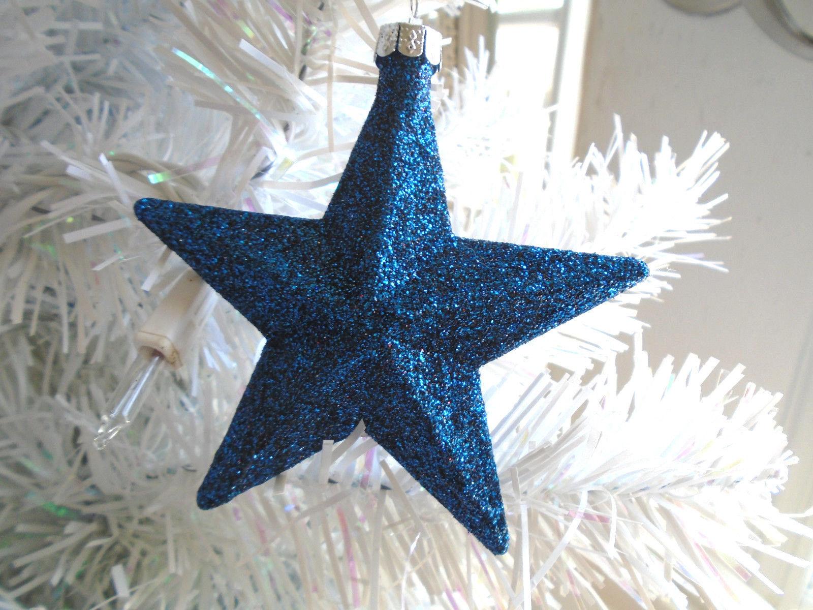 Blue Navy Glitter Star Ornaments Tree Patriotic Fourth Of July