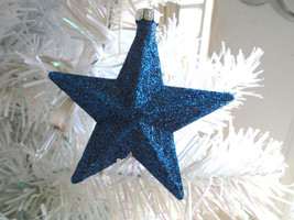 Blue Navy Glitter Star Ornaments Tree Patriotic Fourth of July 4TH Indep... - €3,41 EUR
