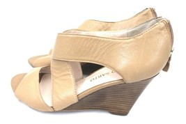 Neutral Leather Shoes Franco Sarto Giseppe Tan Caramel Wedge Sandals Women's 8 M image 2