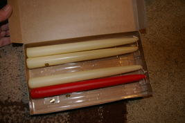 """Partylite Ivory and Red Tapers 10"""" Party Lite - $10.00"""