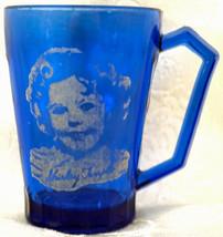 Vintage 1930's Hazel Atlas Shirley Temple Cobalt Blue Glass Mug or Cup - $25.99