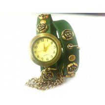 Vintage Silver Rose Studded Ladies Watch Leather Strap Quarz Watch Brace... - $20.00