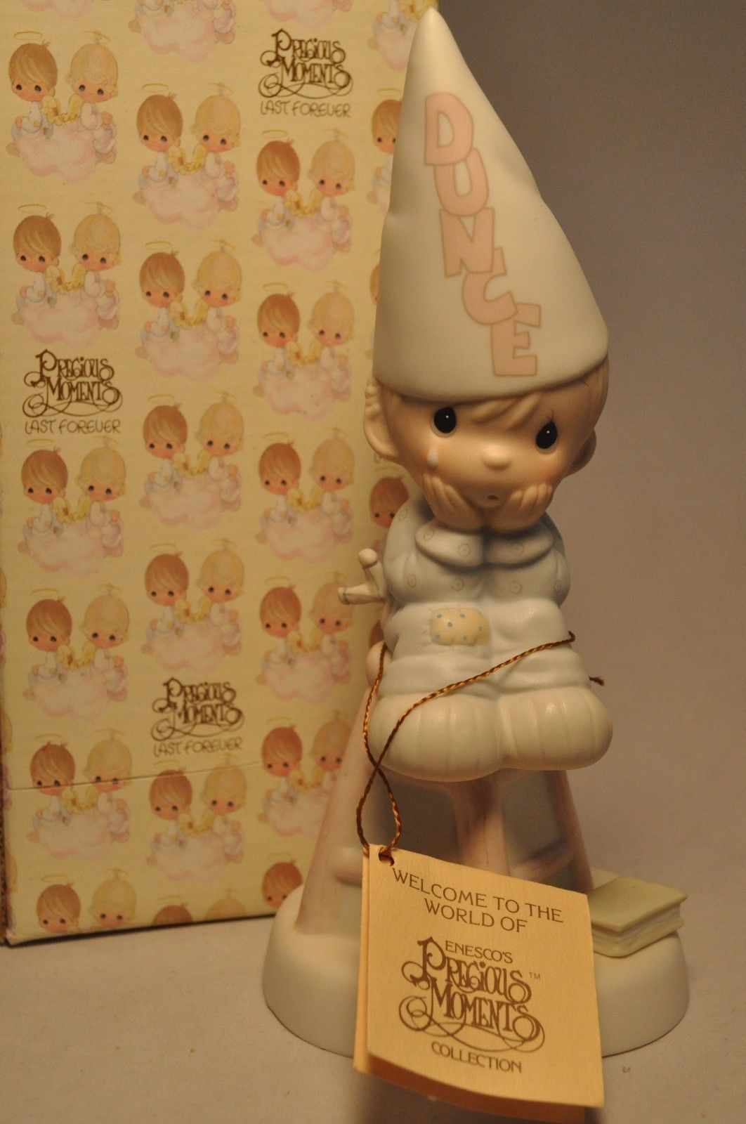 Primary image for Precious Moments - Nobody's Perfect E-9268 - Boy Dunce Cap Sitting on Stool