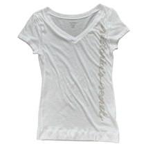 Victoria's Secret Womens White Logo V-neck Short Sleeve Fitted T-Shirt T... - $9.90