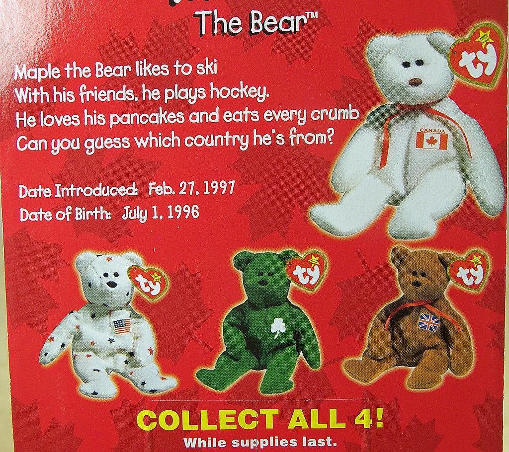 SET of 4 TY BEANIE BABIES Charity Bears GLORY ERIN BRITANNIA MAPLE NOC 1999 905c1c83908