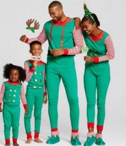 Elf Christmas Adult Mens Pajama Set 2 Piece Top Lounge Pants Cotton Fami... - $22.76