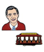 Mister Roger Face and Neighborhood Trolley Metal Lapel Pin Set of Two NE... - $15.44