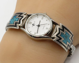 SILVERMOON 925 Sterling Silver - Navajo Crushed Turquoise Stretch Watch ... - $70.59