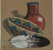 Navajo Sand Painting Signed Pot Basket Feather Ken Sloan - $9.00
