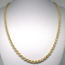 18K YELLOW GOLD CHAIN NECKLACE 5 MM BIG BRAID ROPE LINK 23.60 IN. MADE I... - $1,207.00