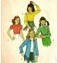 Simplicity 6477 dated 1974 for a child's blouse in 4 variations in size 14 - $3.90