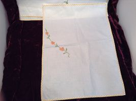 Antique Set of Four Embroidered Floral Hand Towels image 6