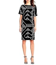 LRL Ralph Lauren NWT $145 Dress Shift Style Black & White Geometric Career - $89.10