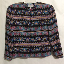Adrianna Papell Fitted Silk Lined Jacket Sz 12 Multicolored Floral Geometric - $39.59