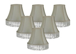 Urbanest Set of 6 Cream with Cream Fringe Silk Bell Chandelier Lamp Shade, 3-inc - $35.63
