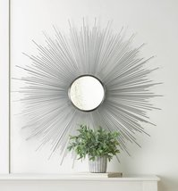 Decorative Wall Mirror Silver Iron Rays with Small Round Beveled Contemporary - $92.95