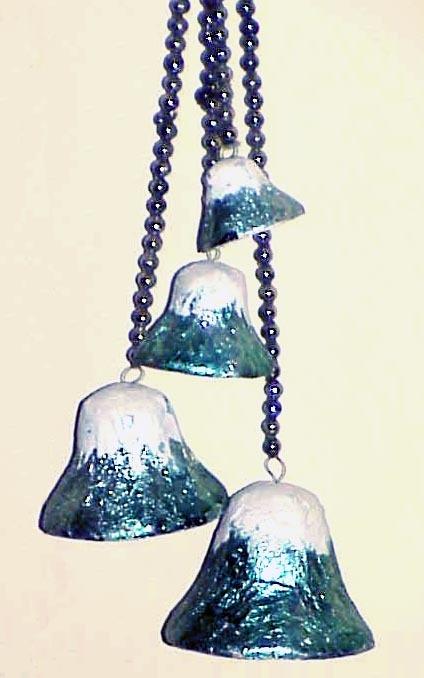 Vintage Christmas Bells Foil, Glass Bead, Paper Mache Japan - Bells