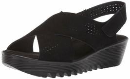 Skechers Plot Peep Toe Slingback Wedge Sandal Black 8 M - $54.44