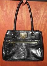 ANNE KLEIN Black Alligator Alley Satchel Tote Handbag - $39.00