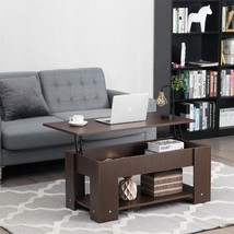 Coffee Table with Lift-up Desktop and Hidden Storage-Brown - £115.58 GBP