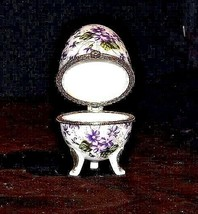 Ceramic Egg Shell with Gold Trim AA18 - 1064 Vintage Purple and White image 2