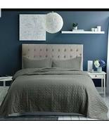 Sanctuary L'erba Thistle 3 pc Quilt Silk/Cotton Bedspread Shams khaki gr... - $163.35