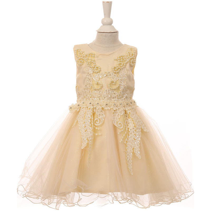 Primary image for Champagne Satin Glittered Tulle Baby Dress Embroidered Lace Pearls Sequin Bodice
