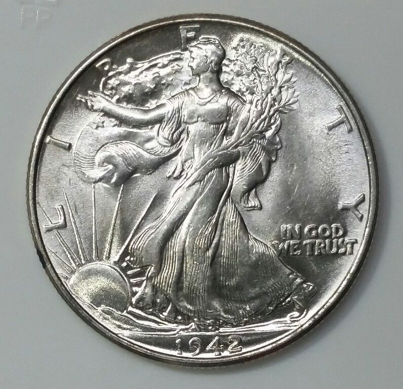 1942 Walking Liberty Half Dollar 90% Silver Coin Lot# E 43